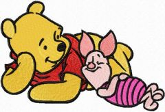 Winnie Pooh and Piglet - We relax embroidery design