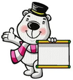White bear the magician embroidery design