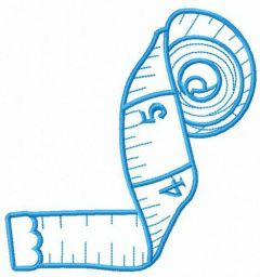 White measuring tape embroidery design