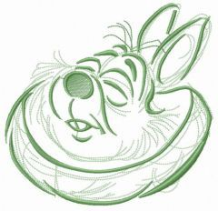 White Rabbit without glasses embroidery design