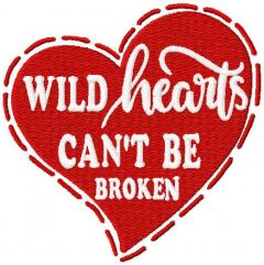 Wild hearts can't be broken embroidery design