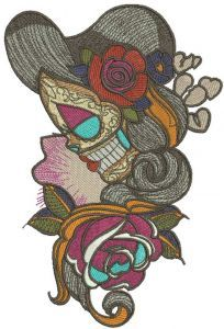Wild rose girl embroidery design