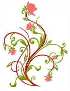 Winding rose embroidery design