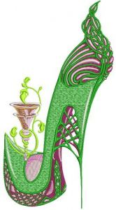 Winking high heel embroidery design