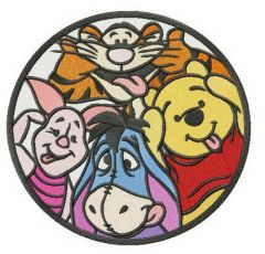 Winnie the Pooh and all his friends embroidery design