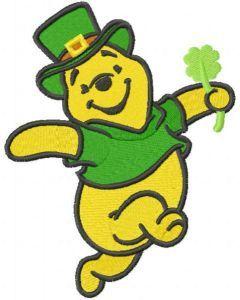 Winnie Pooh st patrick dance embroidery design