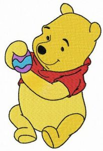 Winnie Pooh with Easter egg embroidery design