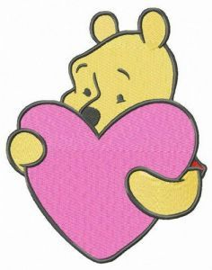 Winnie the Pooh with pink heart embroidery design
