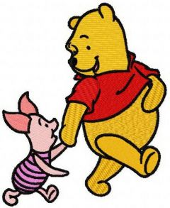 Winnie the Pooh and Piglet best friends 2 embroidery design