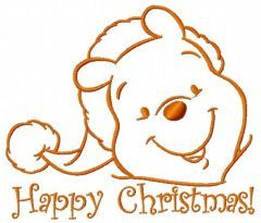 Winnie the Pooh in santa hat 4 embroidery design