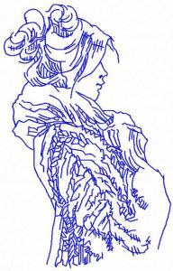 Winter cold woman embroidery design