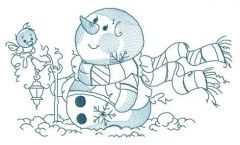 Winter, snowman and lantern embroidery design