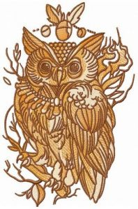 Wise owl on tree branch embroidery design