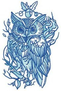 Wise owl with collar embroidery design
