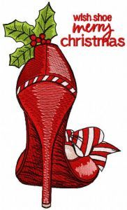 Wish shoe merry christmas embroidery design