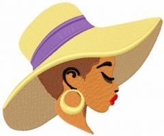 Woman in summer hat embroidery design