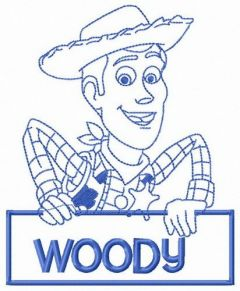 Woody with sign embroidery design