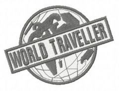 World traveller embroidery design