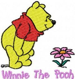 Winnie Pooh with flower 4 embroidery design