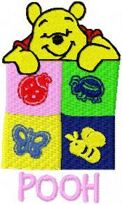 Winnie Pooh with signs embroidery design