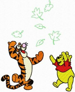 Winnie Pooh and Tigger playing embroidery design
