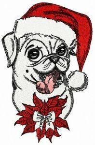 Xmas pug-dog embroidery design
