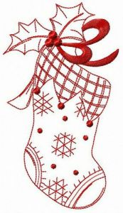 X-mas sock embroidery design