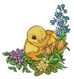 Yellow chick embroidery design