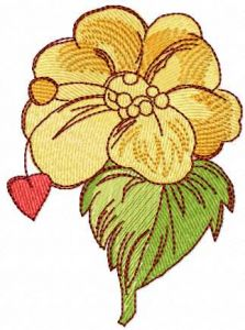 Flower and heart embroidery design