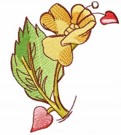 Flower and heart 2 embroidery design