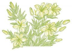 Yellow lilies embroidery design