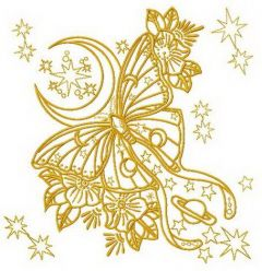 Yellow space butterfly embroidery design