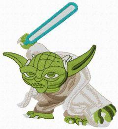 Yoda brave embroidery design