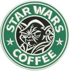 Yoda coffee embroidery design