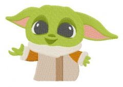 Yoda kid embroidery design