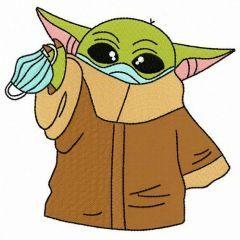 Yoda quarantine embroidery design