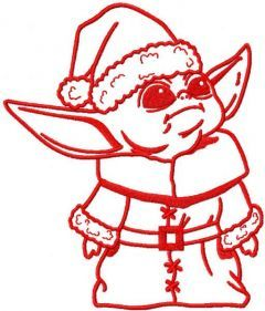 Yoda Santa Claus embroidery design