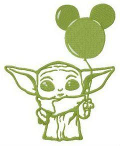 Yoda with balloon embroidery design