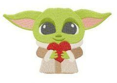 Yoda with Valentine card embroidery design