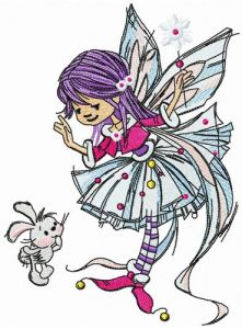 Young fairy with bunny embroidery design