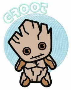 Young Groot embroidery design 2