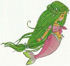 Young mermaid embroidery design