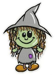 Young witch machine embroidery design