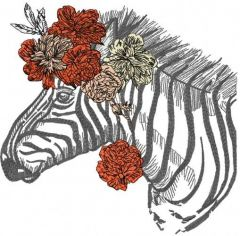 Modern Zebra embroidery design