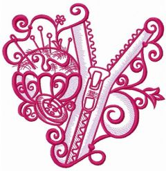 Zipper and tailor's pins embroidery design