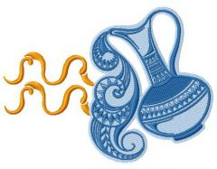 Zodiac sign Aquarius 4 embroidery design