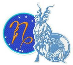 Zodiac sign Сapricorn 3 embroidery design