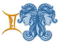 Zodiac sign Gemini 4 embroidery design