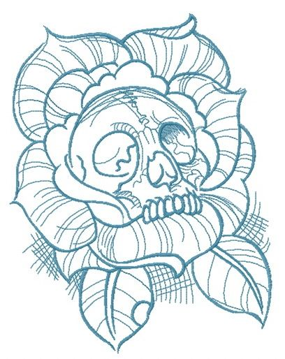 Dead rose embroidery design 2