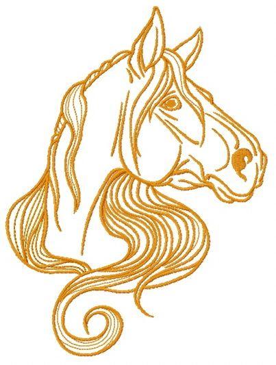 Distrustful horse embroidery design